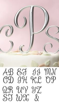 Silver Monogram Cake Topper Letters Large