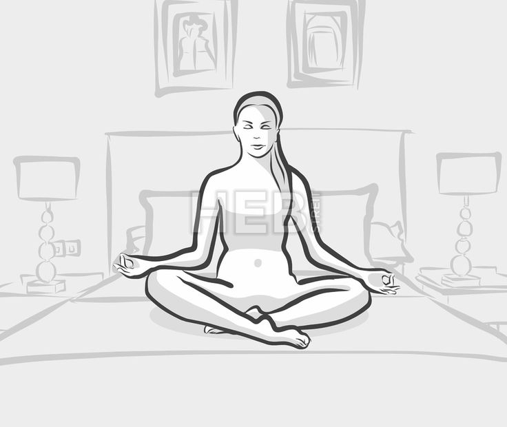 woman practicing siddhasana yoga exercises on the bed at home or hotel by Hebstreits #stockimage #design