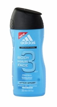 Adidas 3 in 1 body, hair & face shower gel 250ml after sport Adidas body, hair & face 3in1 after sport's unique 3 in 1 formula hydrates your body, respects your face & conditions your hair
