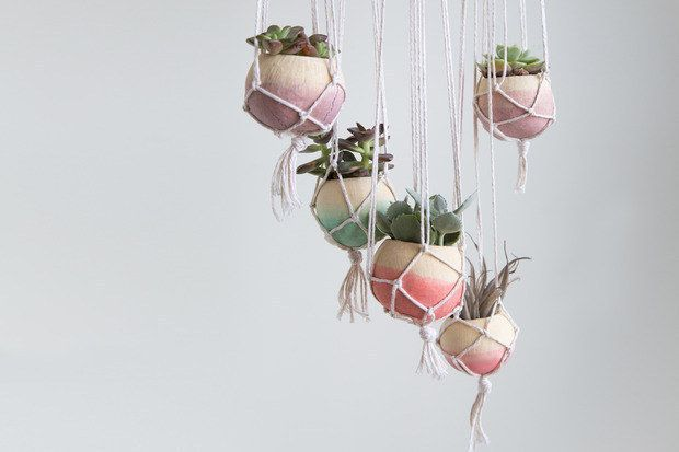 Or, knot together some pretty mini hangers for your kitchen window.