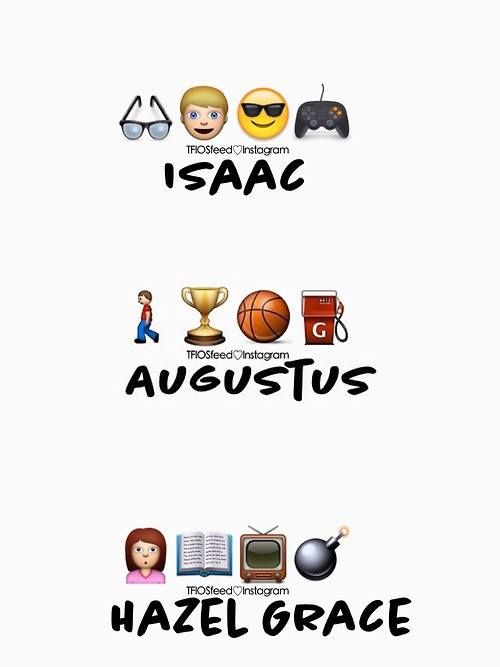 Isaac, Augustus and Hazel Grace described in emojis