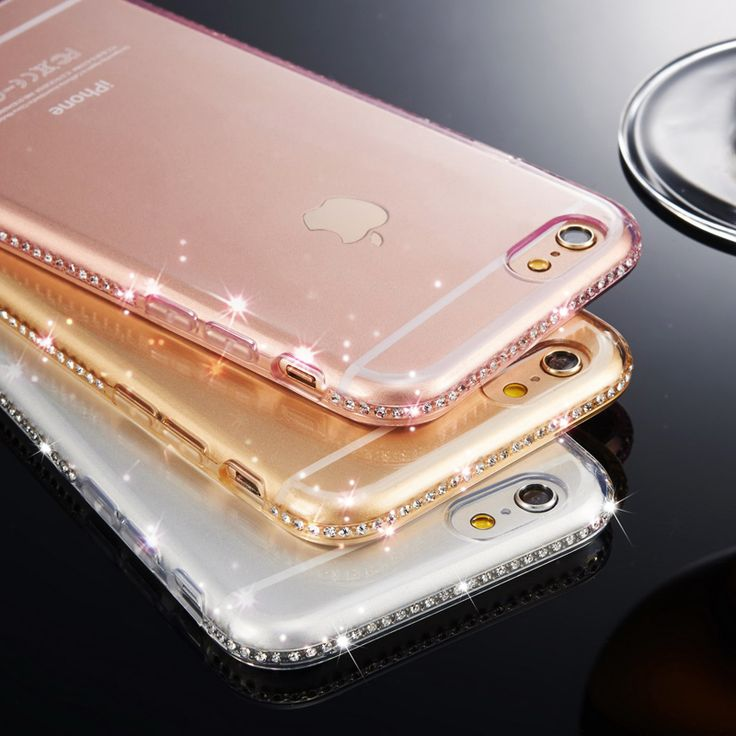 Phone Case For iPhone 7 7 Plus 5 5s SE 6 6s 6 Plus Luxury Edge Bling Glitter Rhinestone Frame Soft Transparent TPU Phone Covers
