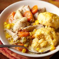 Slow Cooker Chicken and Cornmeal Dumplings from Diabetic Living...369 calories per delicious serving//Comfort food at its best, and it makes the house smell wonderful all day as it cooks!