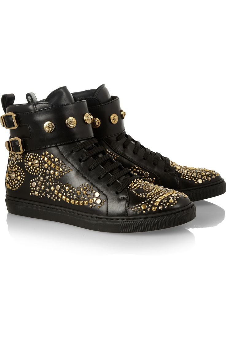 Versace|Studded leather high-top sneakers|NET-A-PORTER.COM