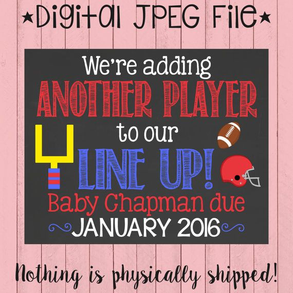 Sports Theme Pregnancy Announcement by PersonalizedChalk on Etsy