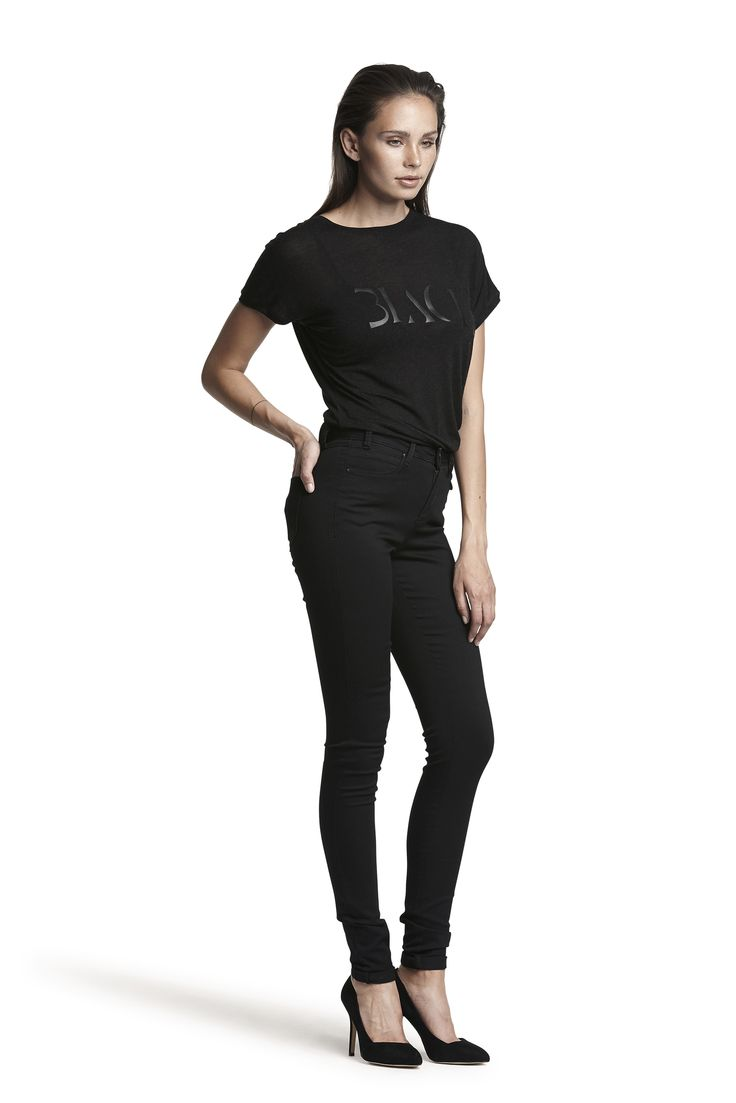 Galana wool top and Gogo hw slim jeans #black #fashion #placementprint #soft #AW15