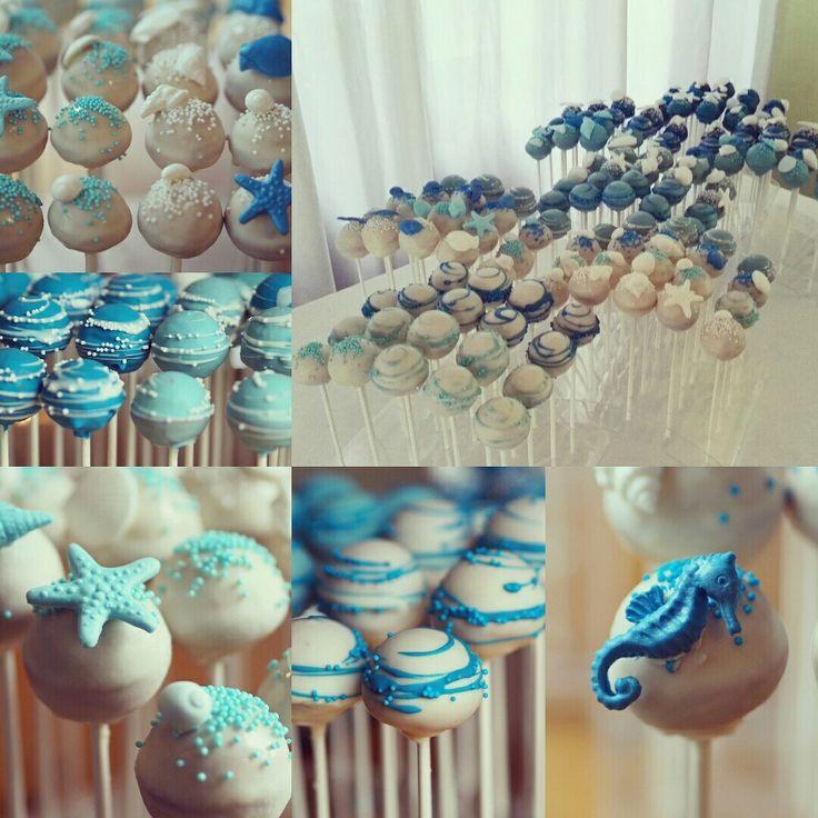 Wedding cake pops in blue and white. Beach cake pops.