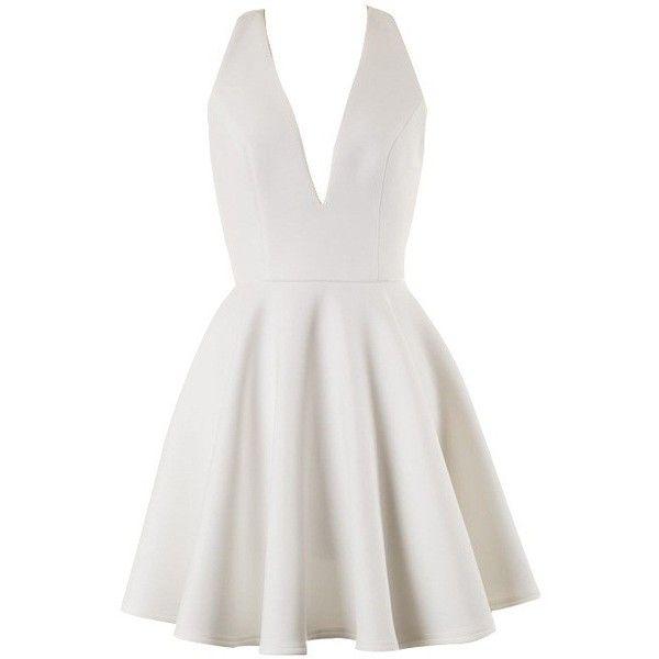 White V Neck Front and Open Back Skater Dress (160 BRL) ❤ liked on Polyvore featuring dresses, short dresses, v neck dress, white day dress, white dress, white v neck dress and v-neck dresses