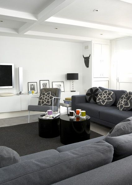 Grey Contemporary-Modern Family Room