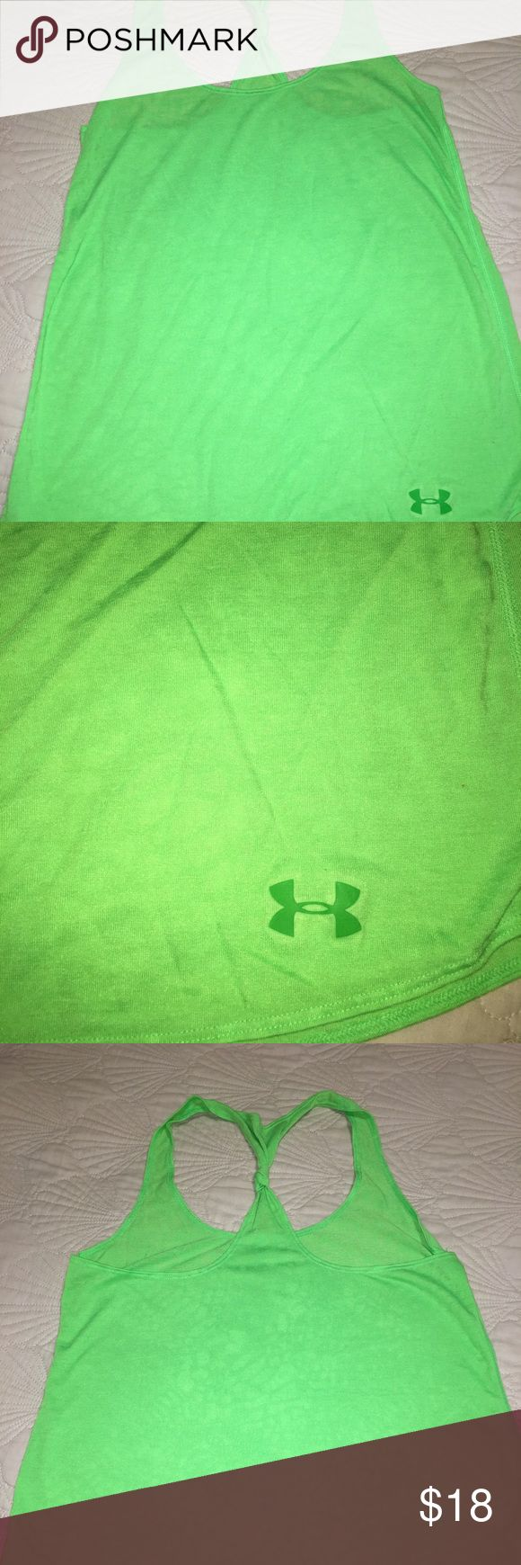 Under Armour ladies running tank Neon green under armour ladies size small running top! Practically brand-new, neon green! Super cute! Smoke free home Under Armour Tops Tank Tops