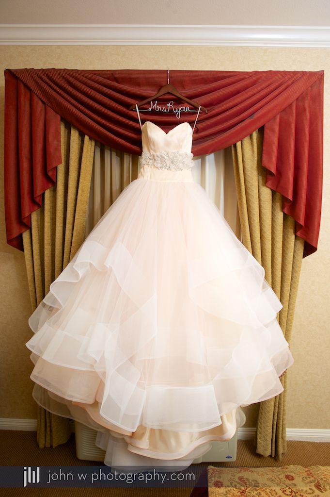 Absolutely beautiful shot of this pale pink wedding dress. Lazaro