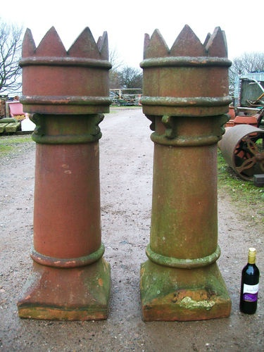 Pair Of Reclaimed Victorian Crown Chimney Pots 46 Quot Tall