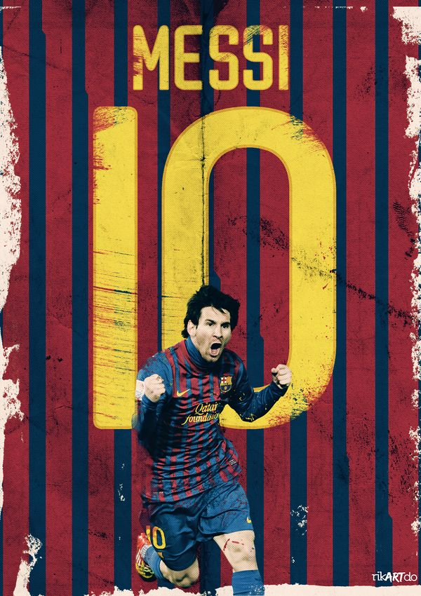 Leo Messi, celebrating one of his goals (via Behance)
