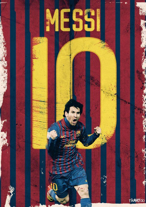 Leo Messi, celebrating one of his goals (via Behance)