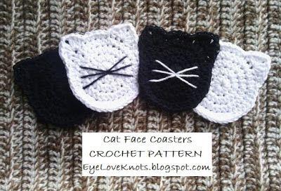 Cat Face Coasters - Free Crochet Pattern from EyeLoveKnots