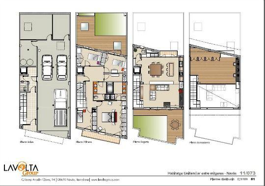 17 mejores ideas sobre planos de vivienda estrecha en - Casas unifamiliares planos ...