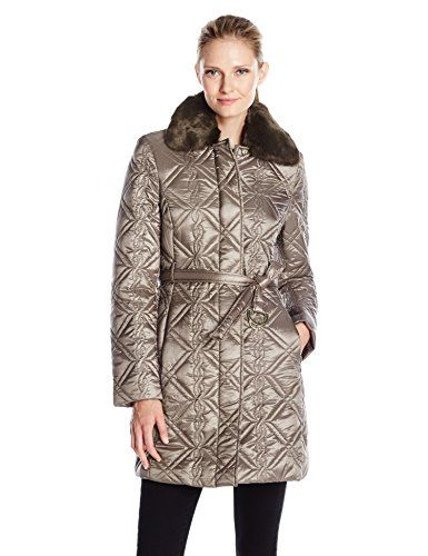 Via Spiga Women's Fly Front Braided Belted Quilt with Detachable Ff Collar