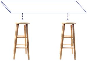 DIY Desk Idea: Bar Stool Bases. Could paint & then make bottom part of stools a shelf. CHEAP & I really need a desk for the apartment