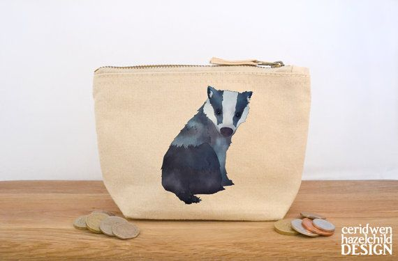 Badger Canvas Zip Purse Makeup Bag Coin Purse Small Accessory Pouch by ceridwenDESIGN http://ift.tt/2474yYZ