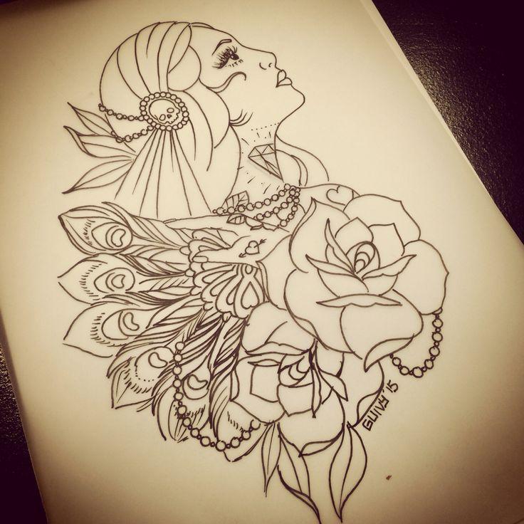 gipsy girl tattoo design guivy art for sinners