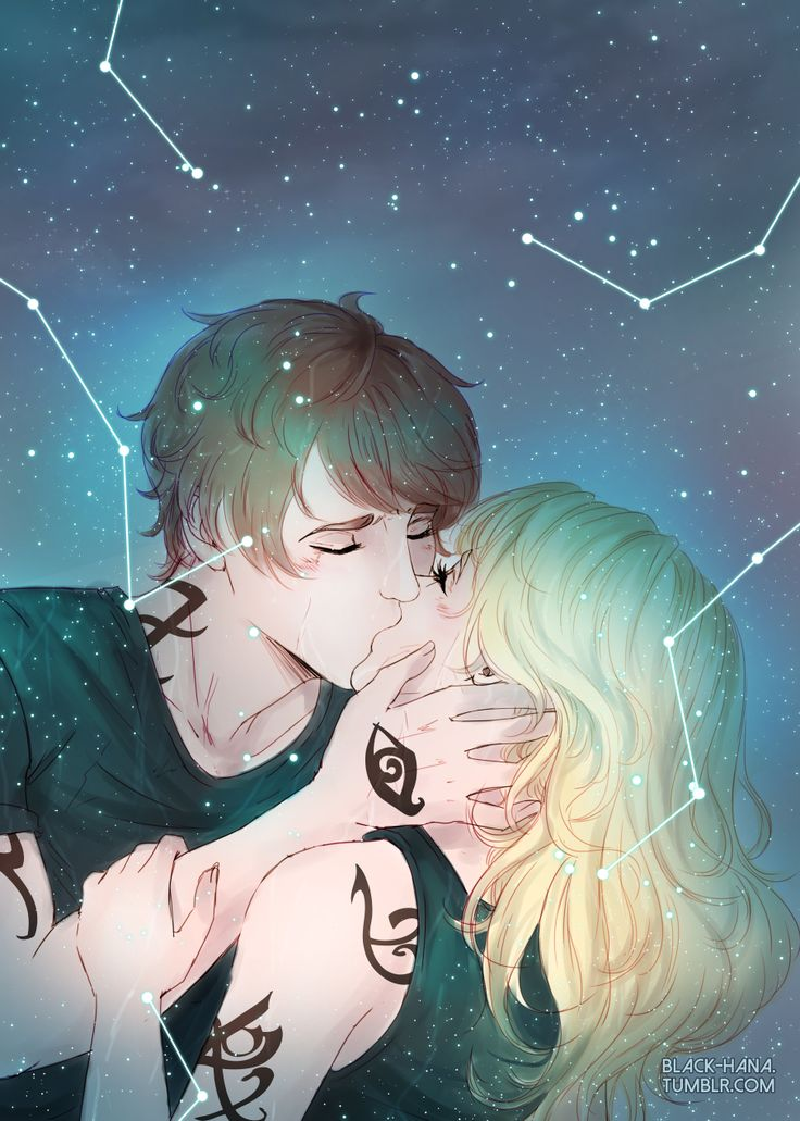 """@black-hana.tumblr.com:  """"She didn't know if she leaned into him first or if he pulled her toward him. Maybe both. They crashed together like stars colliding, and then he was kissing her.""""Quick fanart of Julian & Emma - Lady Midnight (Cassandra Clare)"""