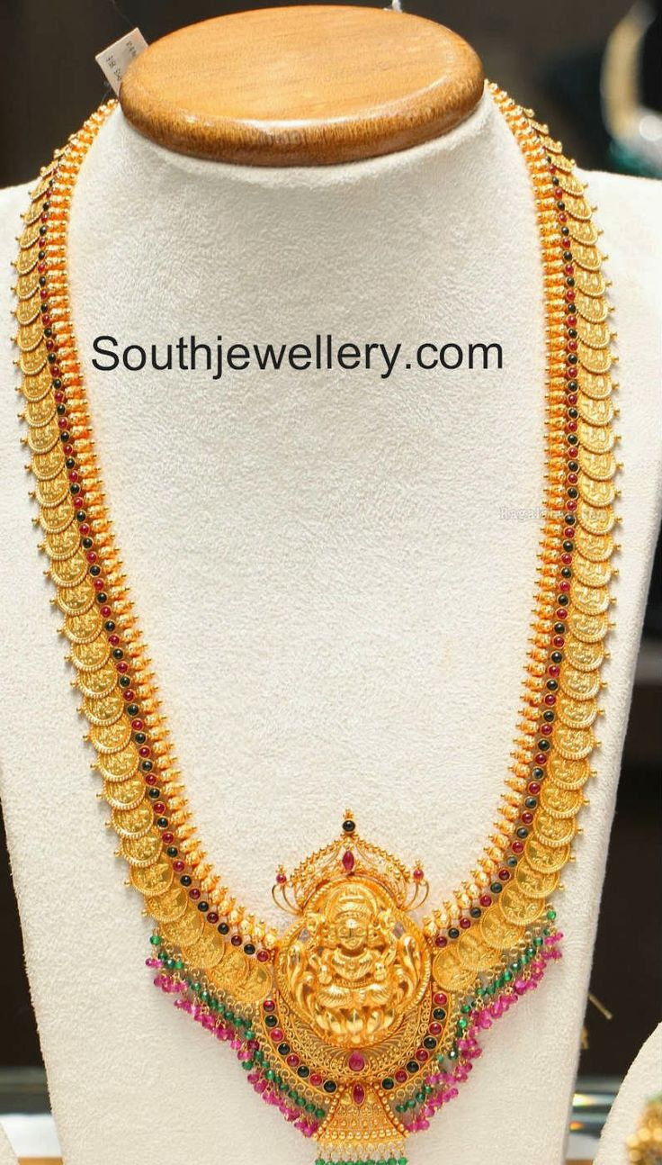 Beautiful 22 carat gold chains with matching pendant designs latest - 22 Carat Gold Heavy Kasu Haram With Lakshmi Pendant Studded With Rubies And Emeralds By Manepally Jewellers