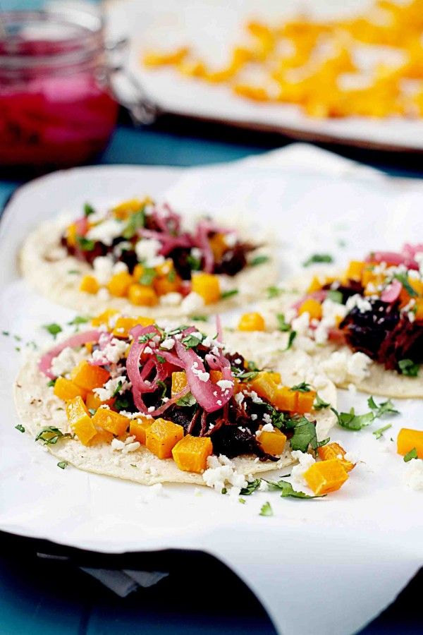 Beer Braised Bison Tacos with Roasted Butternut Squash