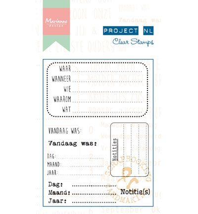 Marianne Design Project NL Clear Stamp - Notities