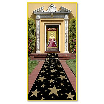 The Star Aisle Runner features a variety of gold colored stars on a black background. Each Star Aisle Runner measures 24 inches wide.