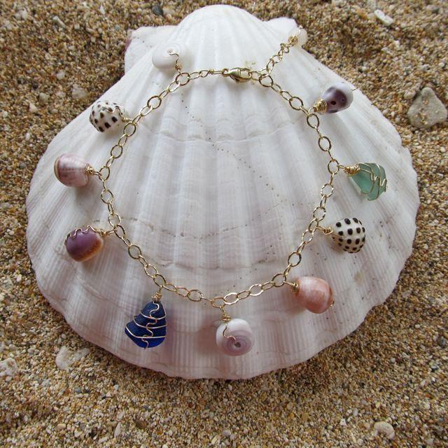 Hawaiian Shell Bracelet Shell Jewelry Gold by HanaMauiCreations