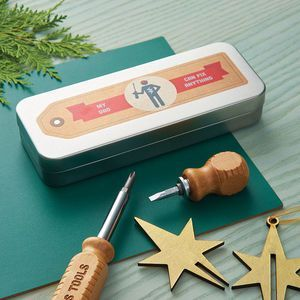 Personalised Screwdriver Set In A Tin. Discover thoughtful, personal and wonderfully unique gifts for him this Christmas. You won't be short of ideas.