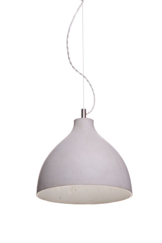 Heavy Concrete Pendant Lamp by Decode. Produced in four tonal finishes, each concrete shade is individually slip-cast and left inverted in the mould to dry for a number of days. During this process, random air pockets and veining develop on the interior of the shade.