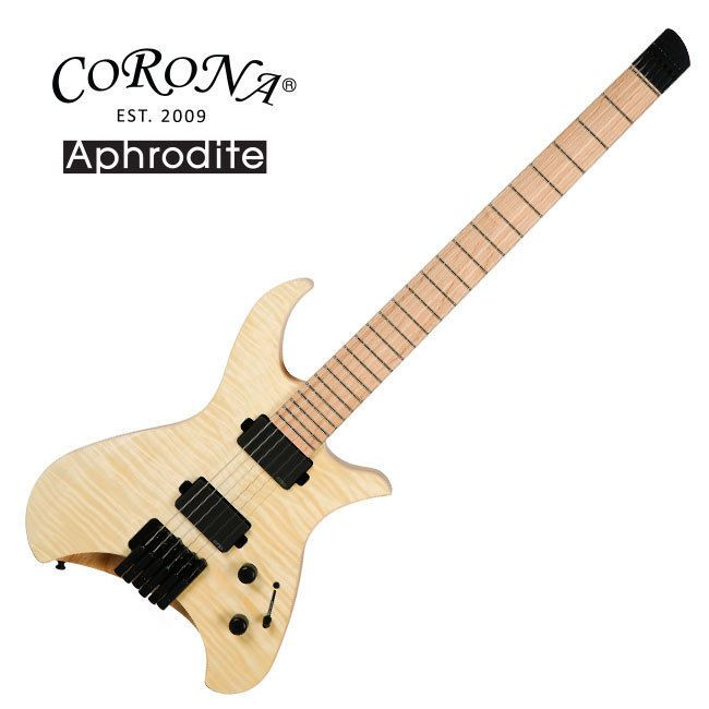 Corona Aphrodite APE-1500 Natural Electric Guitar Flame EMG Headless Unique #Corona