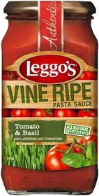 Low FODMAP tomato pasta sauce by Leggo's: Vine Ripe Tomato  Basil 575g. Find it in Coles or Woolworths