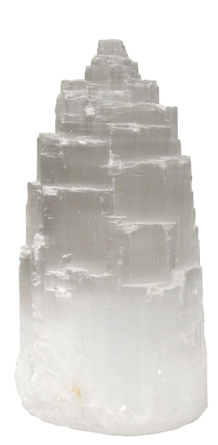 Selenite [Tower] - Crown chakra, upper chakras.  Dissolves negative energy & clears space, spirit allies, past life, psychic, ancient wisdom.  Self Cleansing stone, can cleanse other stones, water soluble .