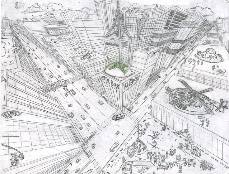 city in 2 point perspective | well, staring from there I began to exercise my own drawing and ...
