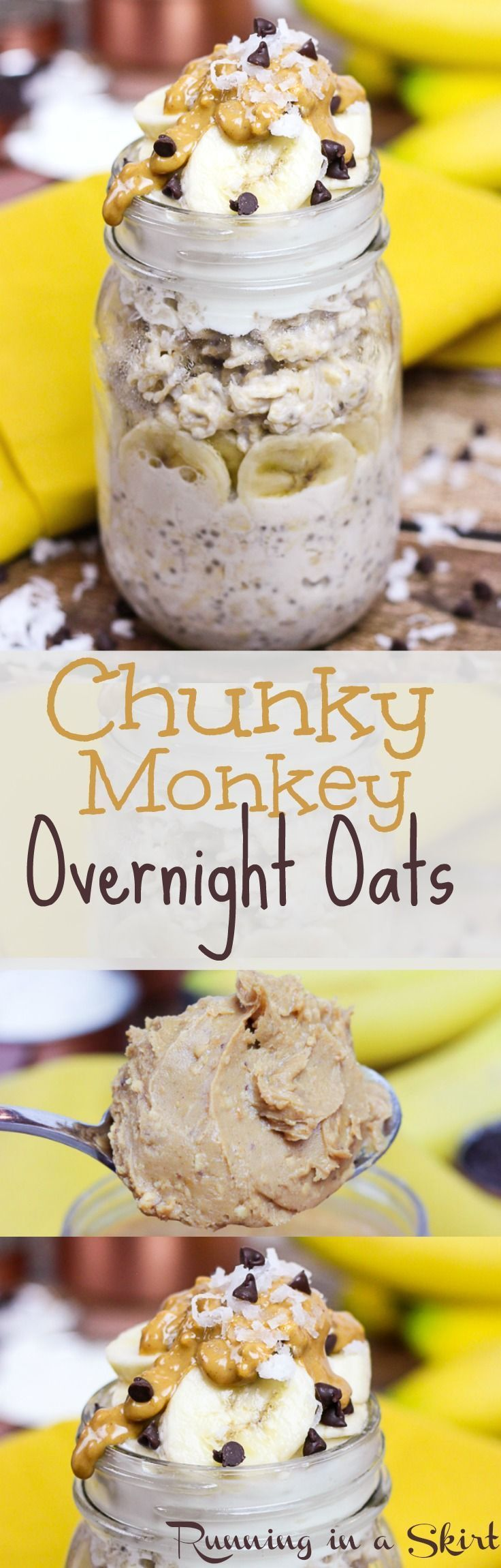 Peanut Butter Chunky Monkey Overnight Oats.  A healthy breakfast recipe in a jar!  Easy, simple and clean eating with chia seeds, almond milk, greek yogurt (use dairy-free!), chocolate chips and bananas!  The best way to eat oats and one of my favorite healthy recipes. / Running in a Skirt