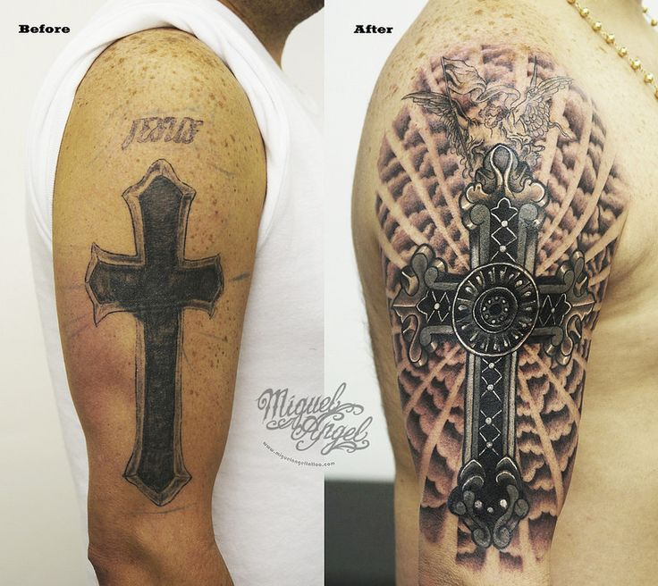 Cross With Clouds Tattoo: Custom Cross Cover Up With Detailed Cross And Clouds
