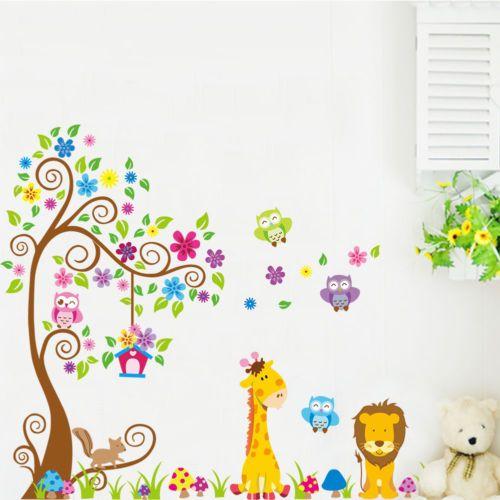 Wandtattoo-XXL-Eulen-Wald-Tiere-Wandaufkleber-Kinderzimmer-Baby-Kinder-Sticker
