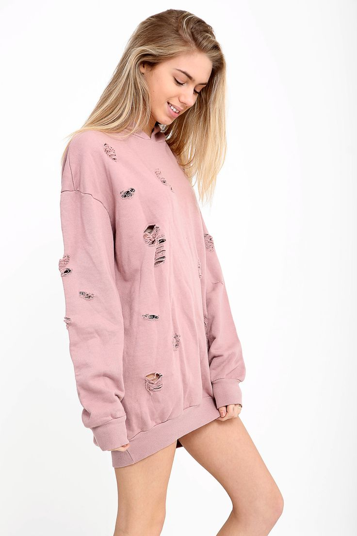 Ultimate #Yeezy vibes with this one! How cute is our distressed jumper dress?! Available in more colours 🔥✨ . . . #sweater #sweatshirt #distressed #hoodie #shop #want #wishlist #goals #pastel #pink #jumper #dress