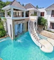 house mansion pool big pool luxory luxiorious waterfall stairs - Big Mansions With Pools