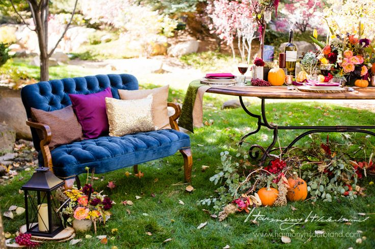 A stunning Fall Shoot! Absolutely LOVE how our pillows turned out against this beautiful blue velvet couch