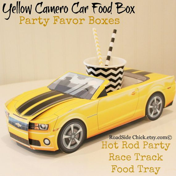 Car Party Food BoxYellow Modern CamaroBumble by RoadSideChick, $9.95
