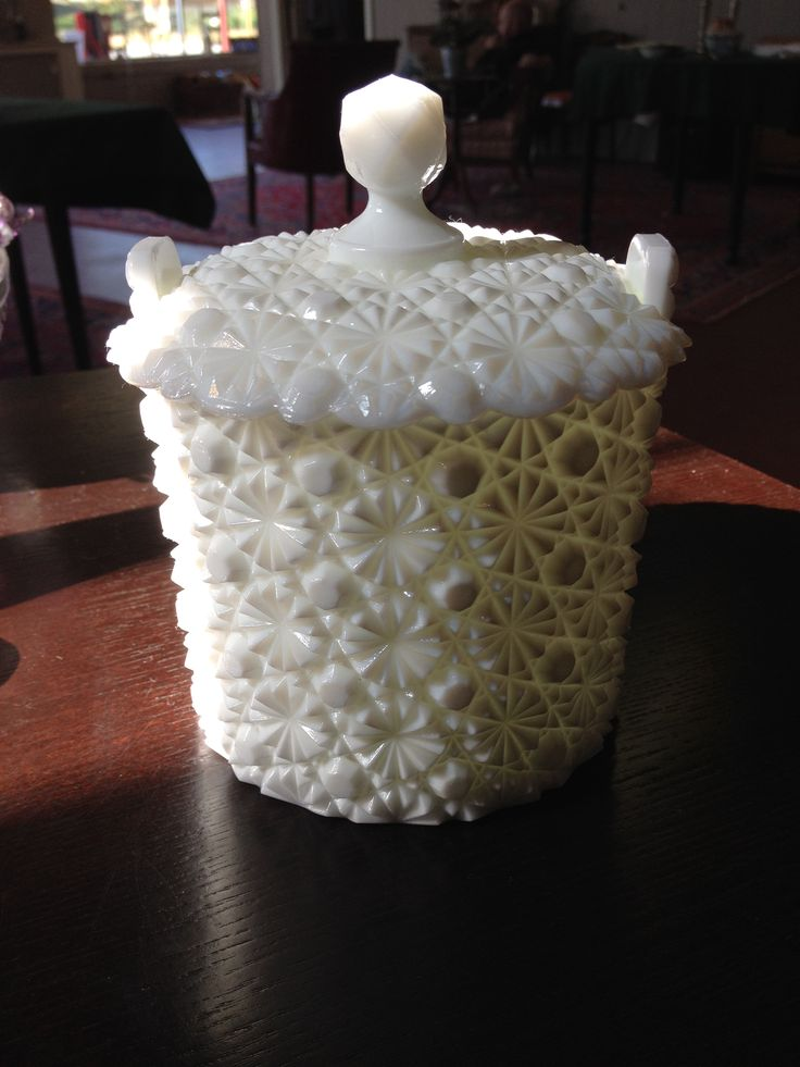 Antique Daisy and Button Milk Glass Jar