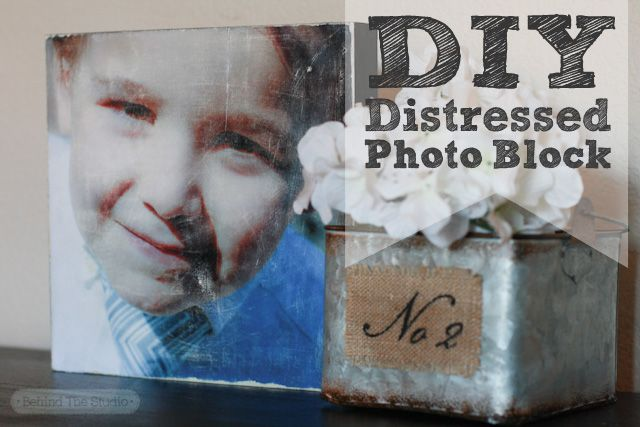 Mod Podge Photo Transfer Medium - Making DIY Distressed Wood Photo Blocks - http://www.behindthestudio.com
