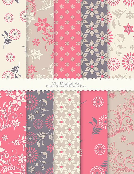 Spring Floral Digital Scrapbook Paper Pack by VNdigitalart on Etsy, $3.00