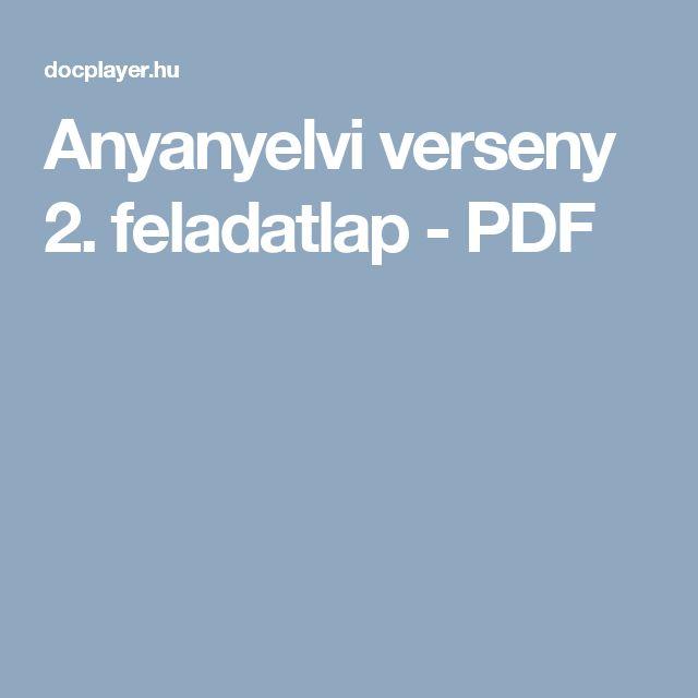 Anyanyelvi verseny 2. feladatlap - PDF