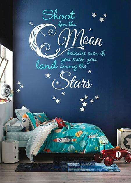 Quote moon and stars on wall above crib and similar if not same bedset with stuffed aliens from toy story and stuffed rockets to play with and a adventure book