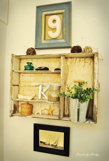 repurpose an old drawer into a shelving unit