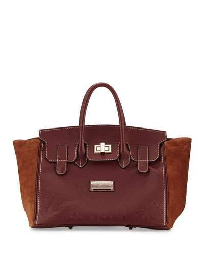 Omia Pebbled Leather Tote Bag, Bread